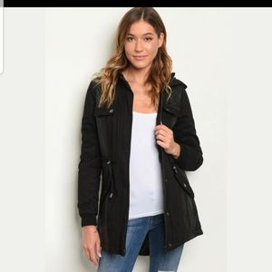 Black Faux Leather Accent Style Jacket with hood